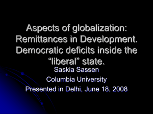 Aspects of globalization: Remittances in