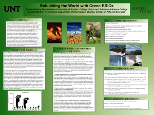 Rebuilding the World with Green BRICs Desiree Hubby, Department