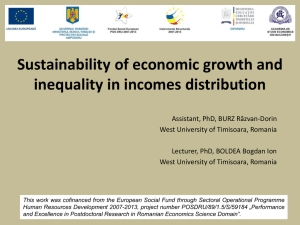 Sustainability of economic growth and inequality in incomes