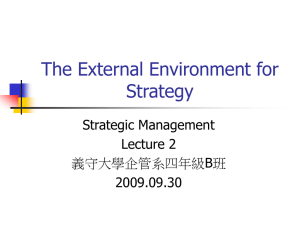 The External Environment for Strategy