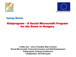Kiútprogram – A Social Microcredit Program for the Roma in Hungary