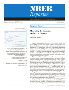 NBER Reporter Program Report