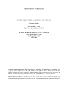 NBER WORKING PAPER SERIES THE MACROECONOMIST AS SCIENTIST AND ENGINEER