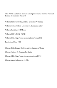 This PDF is a selection from an out-of-print volume from... Bureau of Economic Research