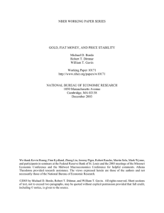 NBER WORKING PAPER SERIES GOLD, FIAT MONEY, AND PRICE STABILITY