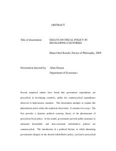 ABSTRACT Title of dissertation: ESSAYS ON FISCAL POLICY IN DEVELOPING COUNTRIES