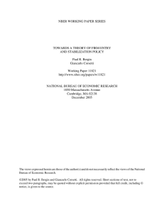 NBER WORKING PAPER SERIES TOWARDS A THEORY OF FIRM ENTRY