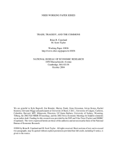 NBER WORKING PAPER SERIES TRADE, TRAGEDY, AND THE COMMONS Brian R. Copeland