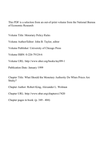 This PDF is a selection from an out-of-print volume from... of Economic Research Volume Title: Monetary Policy Rules