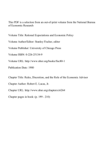 This PDF is a selection from an out-of-print volume from the... of Economic Research Volume Title: Rational Expectations and Economic Policy