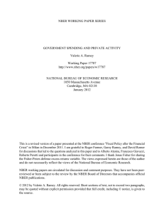 NBER WORKING PAPER SERIES GOVERNMENT SPENDING AND PRIVATE ACTIVITY Valerie A. Ramey