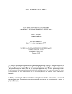 NBER WORKING PAPER SERIES HOW MIGRATION RESTRICTIONS LIMIT Chun-Chung Au