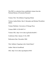 This PDF is a selection from a published volume from... National Bureau of Economic Research Volume Title: The Inflation-Targeting Debate
