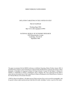 NBER WORKING PAPER SERIES INFLATION TARGETING IN THE UNITED STATES? Marvin Goodfriend