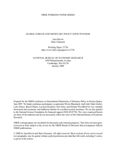 NBER WORKING PAPER SERIES GLOBAL FORCES AND MONETARY POLICY EFFECTIVENESS Jean Boivin