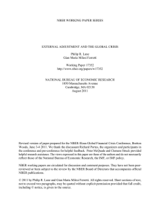 NBER WORKING PAPER SERIES EXTERNAL ADJUSTMENT AND THE GLOBAL CRISIS