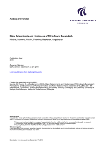 Aalborg Universitet Major Determinants and Hindrances of FDI inflow in Bangladesh