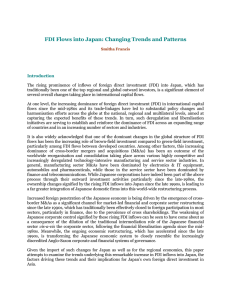 FDI Flows into Japan: Changing Trends and Patterns