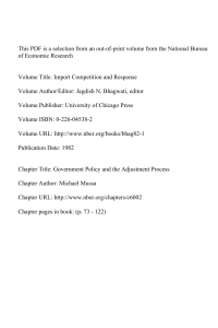 This PDF is a selection from an out-of-print volume from... of Economic Research Volume Title: Import Competition and Response