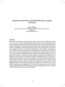 Corporate South Africa and biodiversity in a green economy Anesu Makina