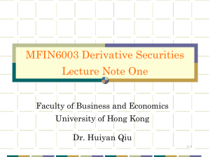 derivative security - the School of Economics and Finance
