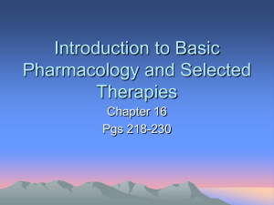 Introduction to Basic Pharmacology and Selected Therapies