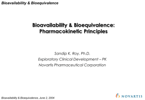 Bioavailability & Bioequivalence