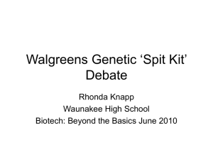 Walgreens DNA 'Spit Kit' Debate
