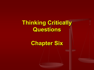 Thinking Critically Questions Chapter Six