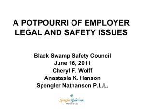 A Potpourri of Employer Safety and Legal Issues