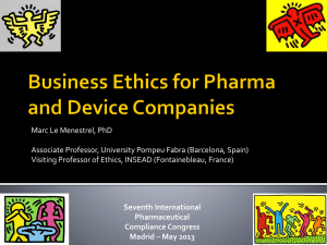 Business Ethics for Pharma and Device Companies