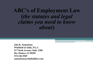 ABC`s of Employment Law - Iowa Association of County Extension