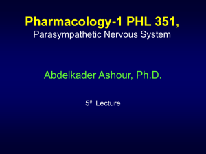 351 Pharmacology PNS 5th Lecture F