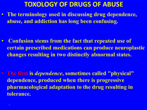 TOXOLOGY OF DRUGS OF ABUSE
