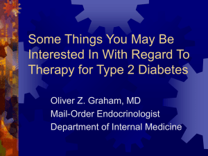 Oral Therapy for Type 2 Diabetes