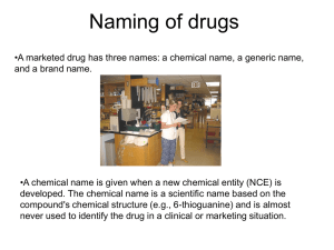 Naming of drugs