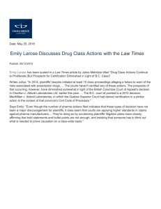 Emily Larose Discusses Drug Class Actions with the Law Times