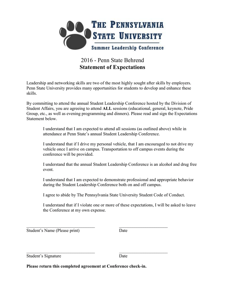 2016 - Penn State Behrend Statement of Expectations