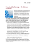 Product Liability Coverage—Life Sciences Experience
