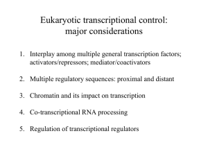 Eukaryotic transcriptional control