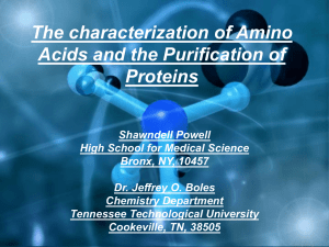 The characterization of Amino Acids and the Purification of Proteins