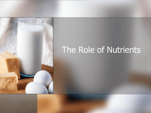 The Role of Nutrients