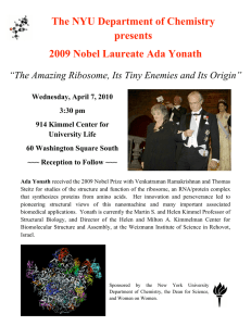 The NYU Department of Chemistry presents 2009 Nobel Laureate Ada Yonath