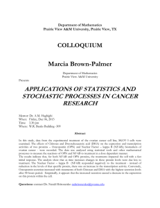 Marcia Brown-Palmer APPLICATIONS OF STATISTICS AND STOCHASTIC PROCESSES IN CANCER