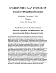 EASTERN MICHIGAN UNIVERSITY Chemistry Department Seminar Wednesday December 3, 2014 2:00 p.m.