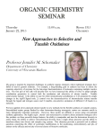 ORGANIC CHEMISTRY SEMINAR  New Approaches to Selective and