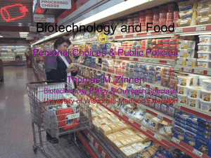 Biotechnology and Food - University of Wisconsin–Madison