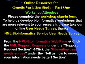 Online resources for genetic variation study-Part One