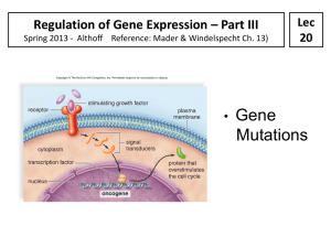 Regulation of Gene Expression – Part III