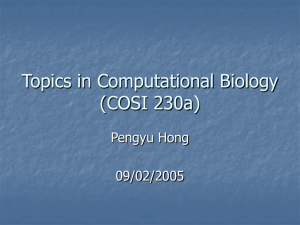 Topics in Computational Biology